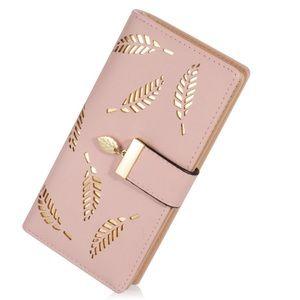 Handbags - Pink wallet w/gold leaf embellishments